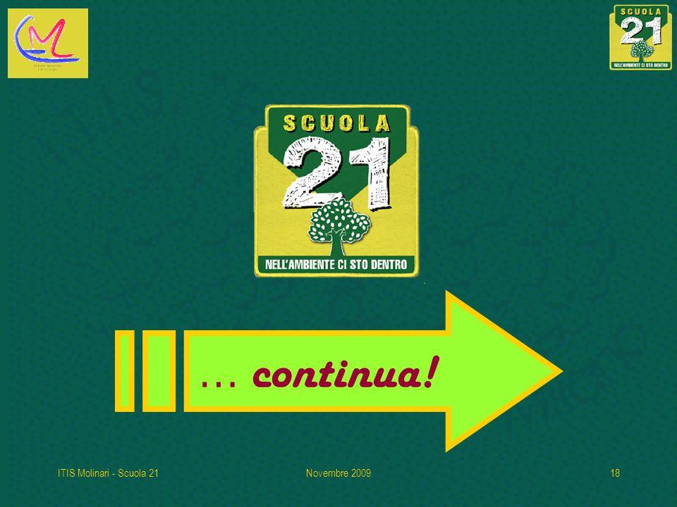 ITIS Molinari - Scuola 21Novembre 200918 … continua!