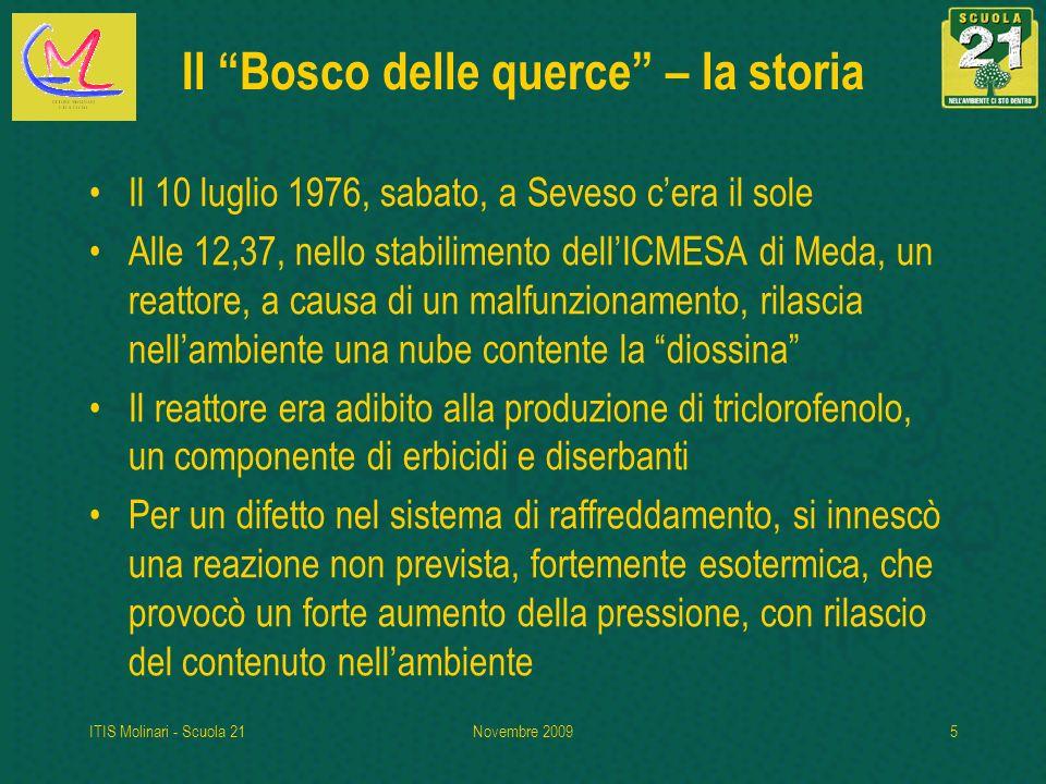 ITIS Molinari - Scuola 21Novembre 20095 Il Bosco delle querce – la storia Il 10 luglio 1976, sabato, a Seveso cera il sole Alle 12,37, nello stabilime