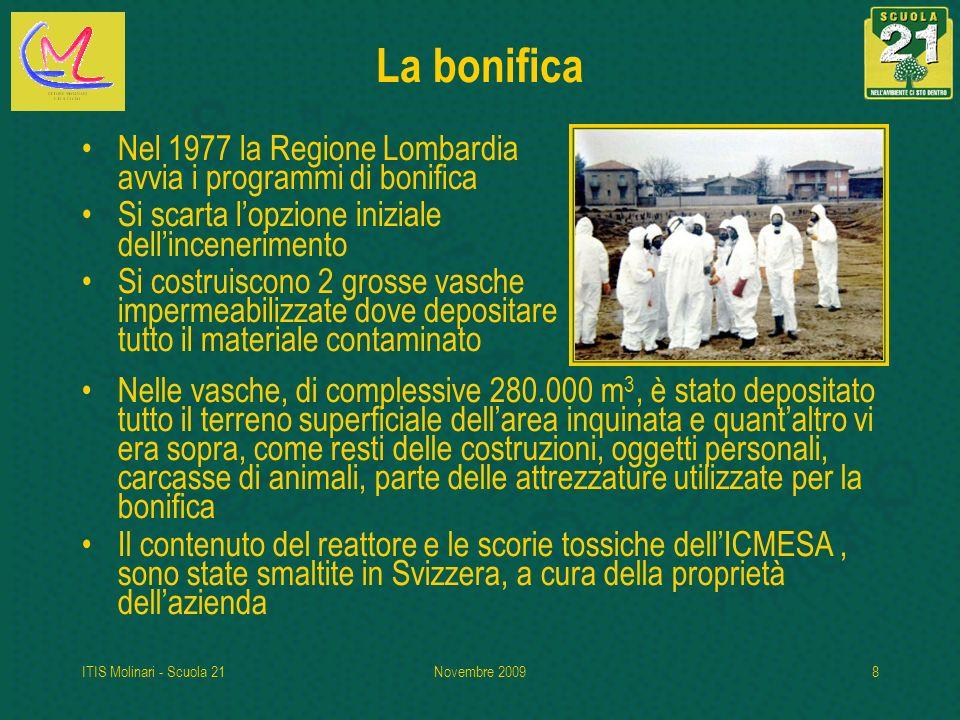 ITIS Molinari - Scuola 21Novembre 20098 La bonifica Nel 1977 la Regione Lombardia avvia i programmi di bonifica Si scarta lopzione iniziale dellincene