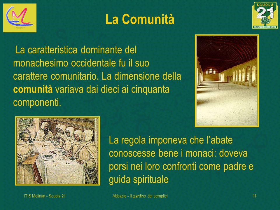 ITIS Molinari - Scuola 21Abbazie - Il giardino dei semplici11 La Comunità La caratteristica dominante del monachesimo occidentale fu il suo carattere comunitario.
