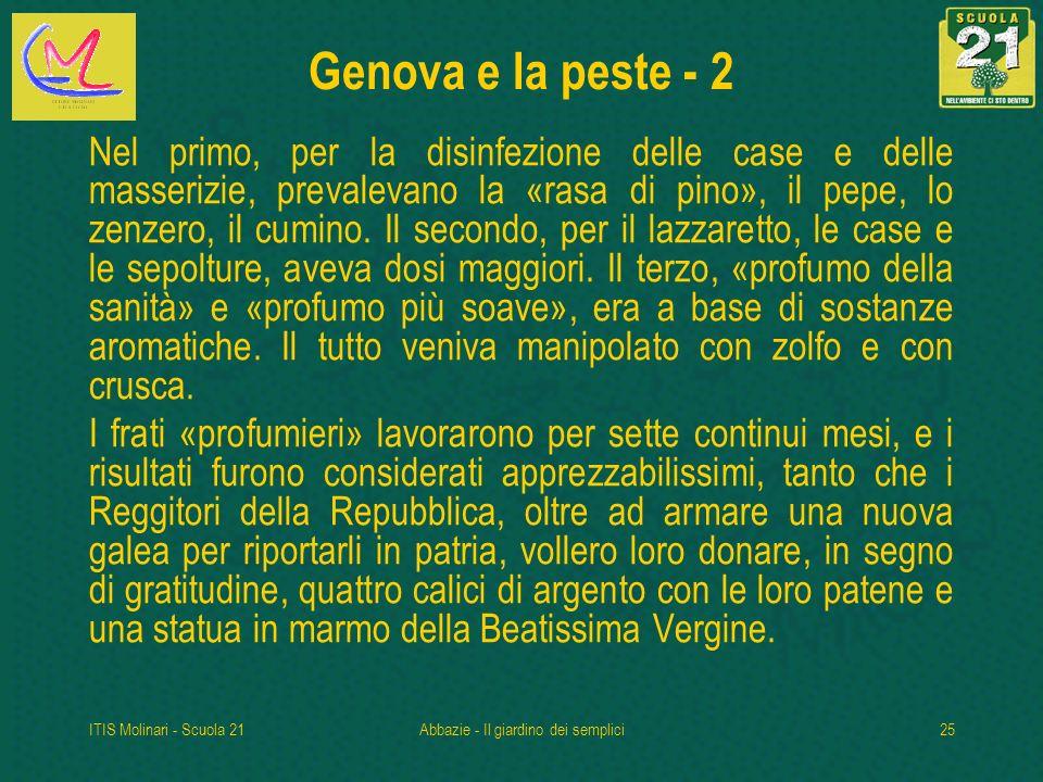 ITIS Molinari - Scuola 21Abbazie - Il giardino dei semplici25 Genova e la peste - 2 Nel primo, per la disinfezione delle case e delle masserizie, prevalevano la «rasa di pino», il pepe, lo zenzero, il cumino.