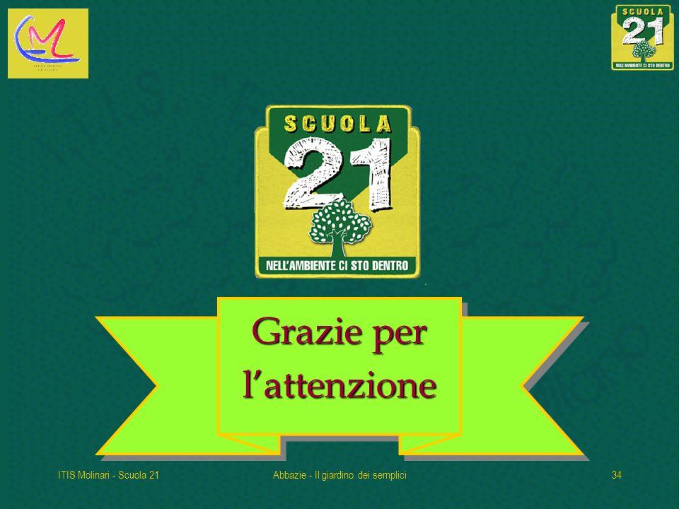 ITIS Molinari - Scuola 21Abbazie - Il giardino dei semplici34 Grazie per lattenzione