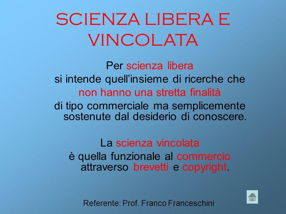 SCIENZA LIBERA E VINCOLATA Per scienza libera si intende quellinsieme di ricerche che non hanno una stretta finalità di tipo commerciale ma semplicemente sostenute dal desiderio di conoscere.