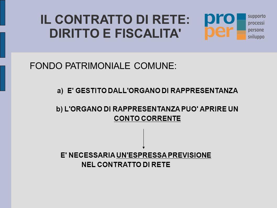 IL CONTRATTO DI RETE: DIRITTO E FISCALITA IL CONTRATTO DI RETE: NOZIONE E DISCIPLINA - Art.