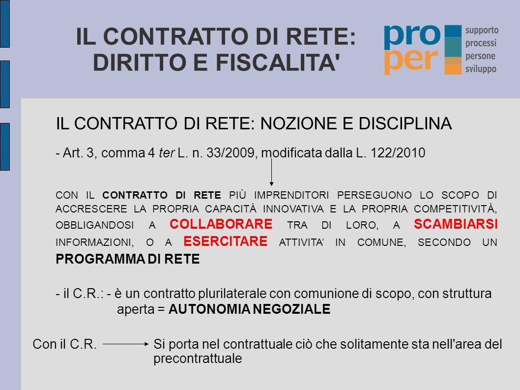 IL CONTRATTO DI RETE: DIRITTO E FISCALITA' IL CONTRATTO DI RETE: NOZIONE E DISCIPLINA - Art. 3, comma 4 ter L. n. 33/2009, modificata dalla L. 122/201