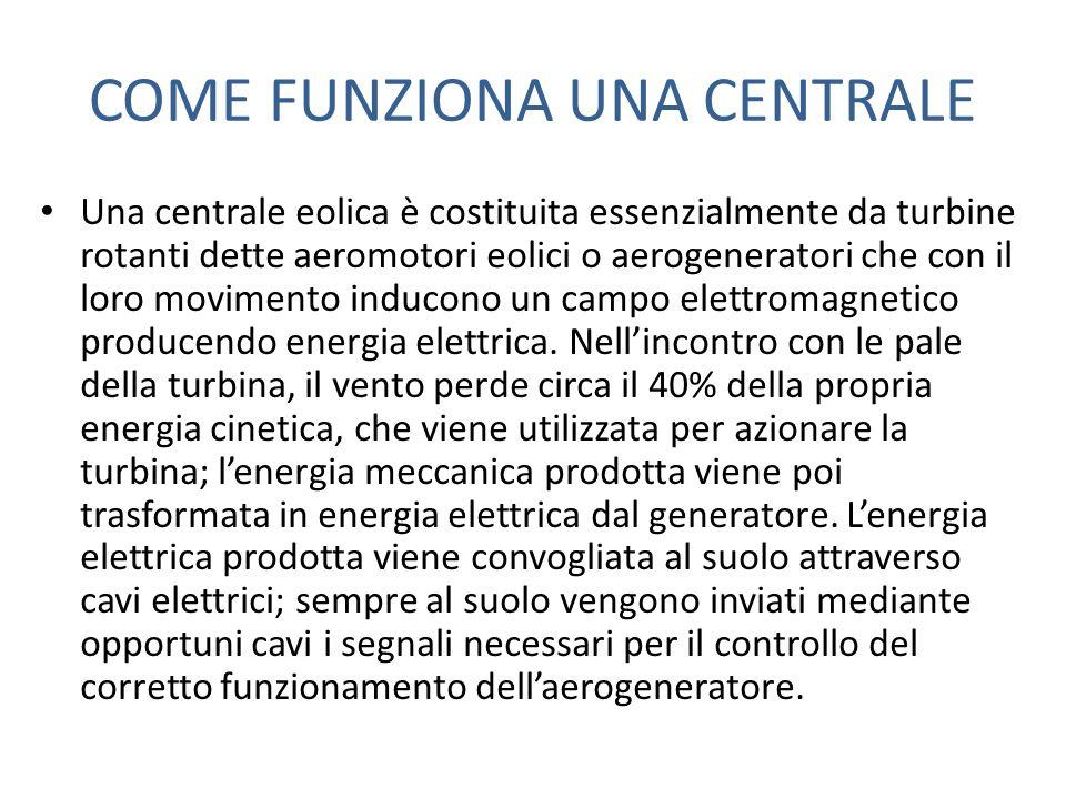 COME FUNZIONA UNA CENTRALE Una centrale eolica è costituita essenzialmente da turbine rotanti dette aeromotori eolici o aerogeneratori che con il loro