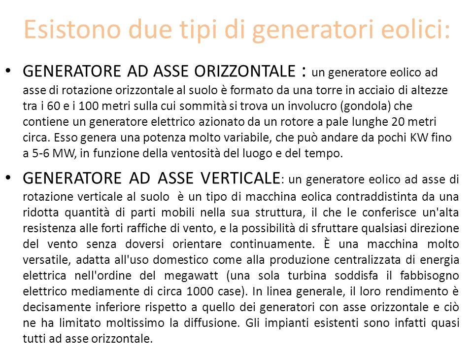 Esistono due tipi di generatori eolici: GENERATORE AD ASSE ORIZZONTALE : un generatore eolico ad asse di rotazione orizzontale al suolo è formato da u