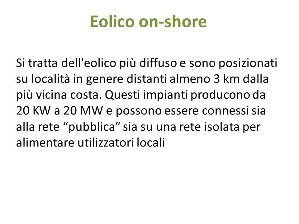 Eolico off-shore Sono gli impianti installati ad alcune miglia dalla costa di mari o laghi, per meglio utilizzare la forte esposizione alle correnti di queste zone.
