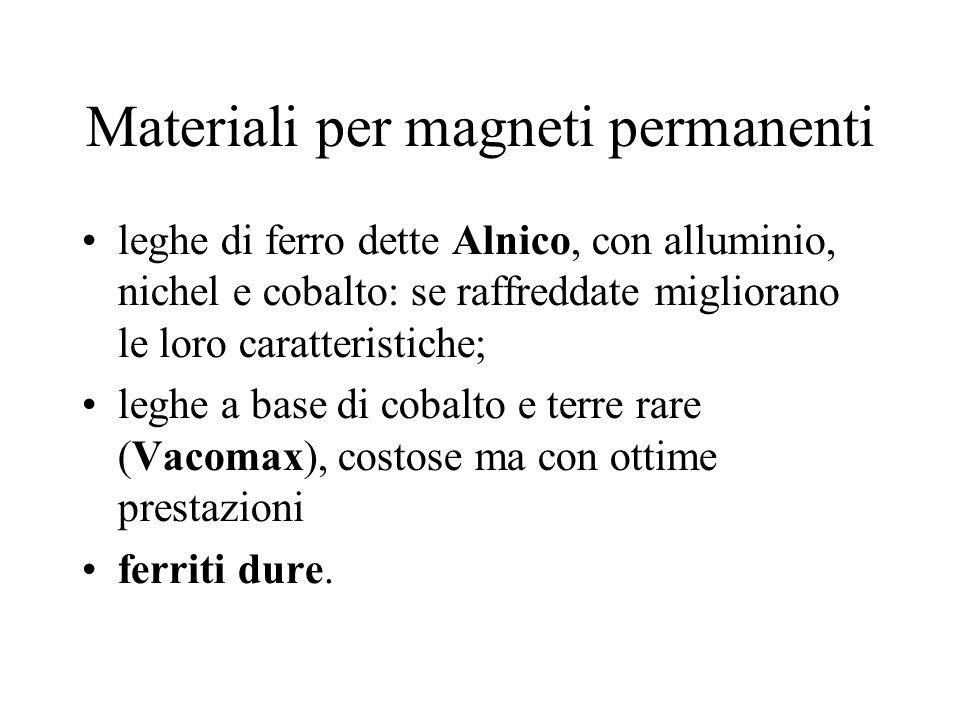 Materiali per magneti permanenti leghe di ferro dette Alnico, con alluminio, nichel e cobalto: se raffreddate migliorano le loro caratteristiche; legh