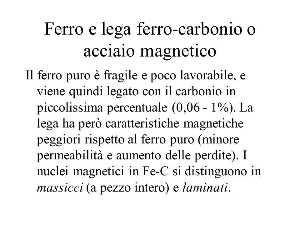 Ferro e lega ferro-carbonio o acciaio magnetico Il ferro puro è fragile e poco lavorabile, e viene quindi legato con il carbonio in piccolissima perce