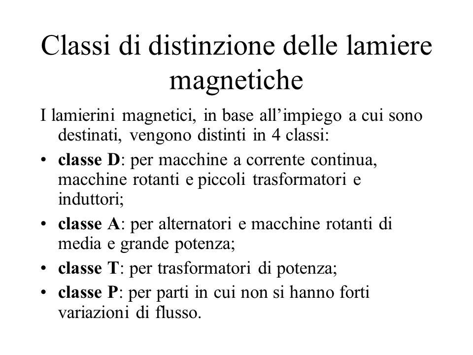 Classi di distinzione delle lamiere magnetiche I lamierini magnetici, in base allimpiego a cui sono destinati, vengono distinti in 4 classi: classe D: