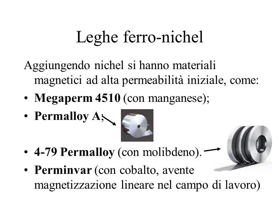 Leghe ferro-nichel Aggiungendo nichel si hanno materiali magnetici ad alta permeabilità iniziale, come: Megaperm 4510 (con manganese); Permalloy A; 4-