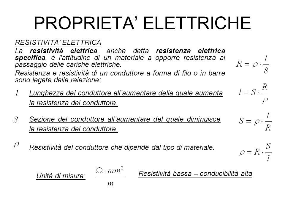 PROPRIETA ELETTRICHE RESISTIVITA ELETTRICA La resistività elettrica, anche detta resistenza elettrica specifica, è l'attitudine di un materiale a oppo