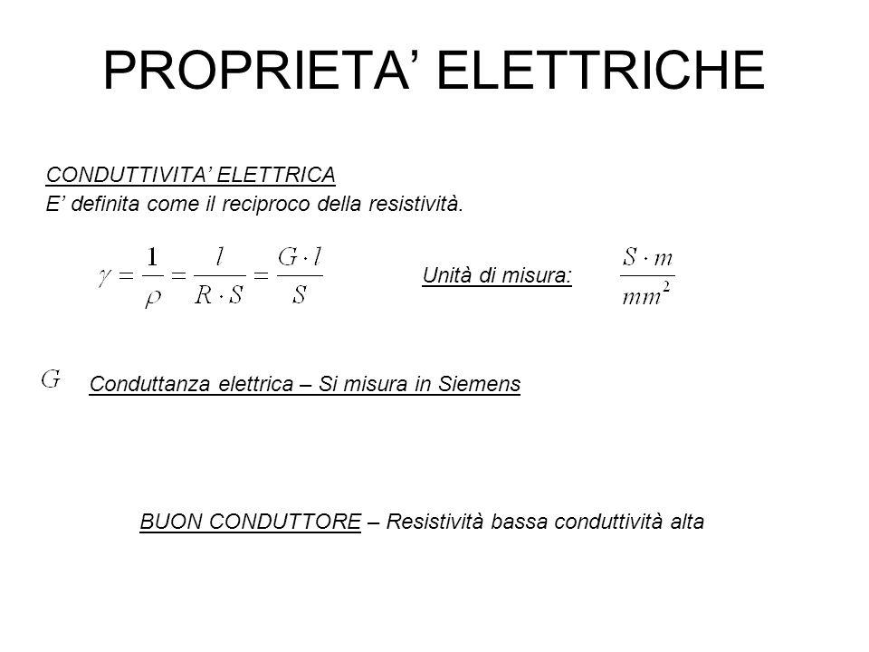 PROPRIETA ELETTRICHE CONDUTTIVITA ELETTRICA E definita come il reciproco della resistività. Conduttanza elettrica – Si misura in Siemens Unità di misu