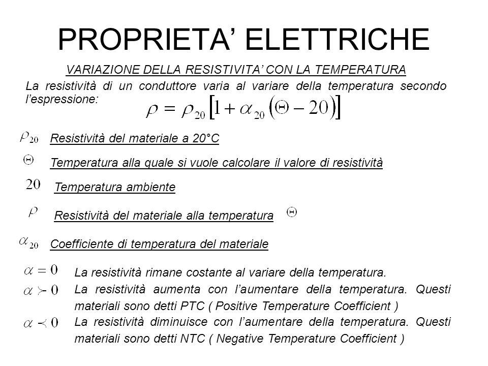 PROPRIETA ELETTRICHE VARIAZIONE DELLA RESISTIVITA CON LA TEMPERATURA La resistività di un conduttore varia al variare della temperatura secondo lespre