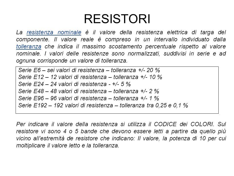 RESISTORI Valore: Giallo – Viola = 47 Moltiplicatore: Verde = 100000 Tolleranza: Oro = +/- 5 % Resistenza da 470000 ohm = 470 kohm con una tolleranza del 5 %