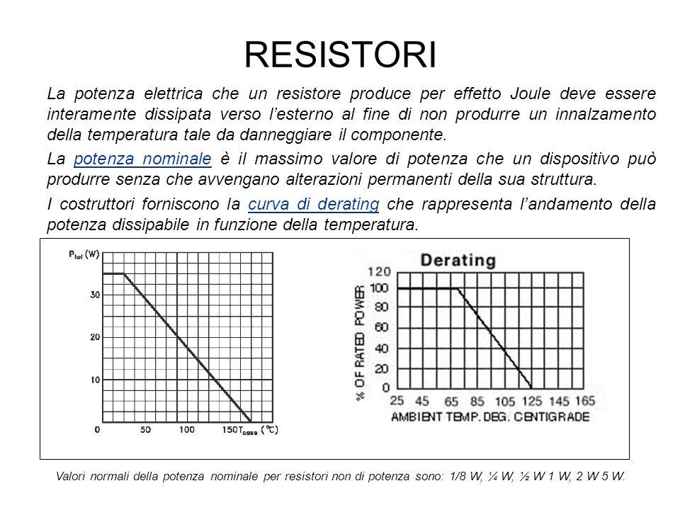 RESISTORI La potenza elettrica che un resistore produce per effetto Joule deve essere interamente dissipata verso lesterno al fine di non produrre un innalzamento della temperatura tale da danneggiare il componente.