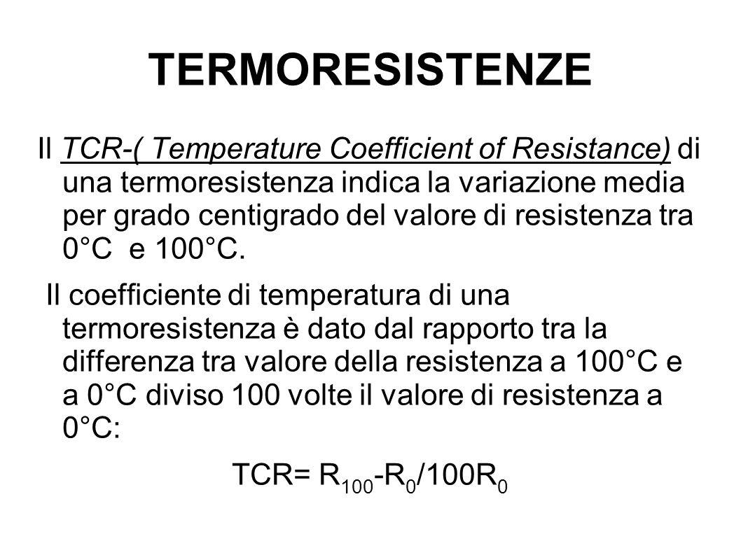 TERMORESISTENZE Il TCR-( Temperature Coefficient of Resistance) di una termoresistenza indica la variazione media per grado centigrado del valore di r