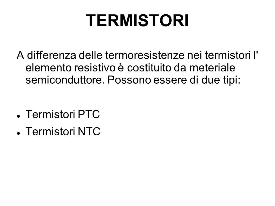TERMISTORI A differenza delle termoresistenze nei termistori l' elemento resistivo è costituito da meteriale semiconduttore. Possono essere di due tip