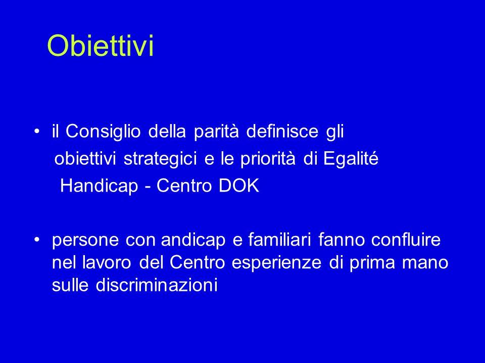 Obiettivi Egalité Handicap elabora documenti di base e attività politica, difende gli effettivi bisogni delle persone con andicap e dei loro familiari le misure presentate dal Centro sono elaborate in accordo con le persone con andicap