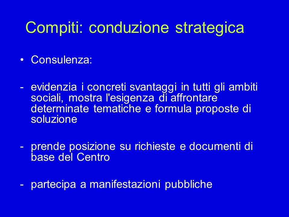 Compiti: conduzione strategica Consulenza: -evidenzia i concreti svantaggi in tutti gli ambiti sociali, mostra l'esigenza di affrontare determinate te