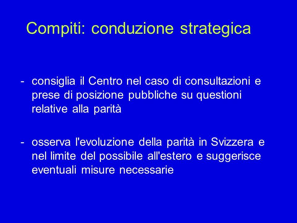 Compiti: conduzione strategica -consiglia il Centro nel caso di consultazioni e prese di posizione pubbliche su questioni relative alla parità -osserv