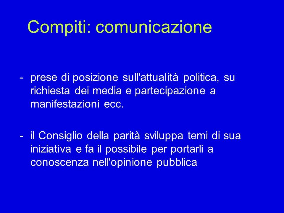 Compiti: comunicazione -prese di posizione sull'attualità politica, su richiesta dei media e partecipazione a manifestazioni ecc. -il Consiglio della