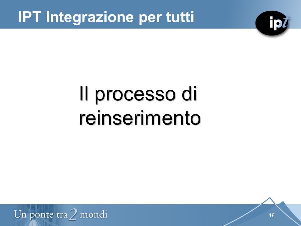18 IPT Integrazione per tutti Il processo di reinserimento