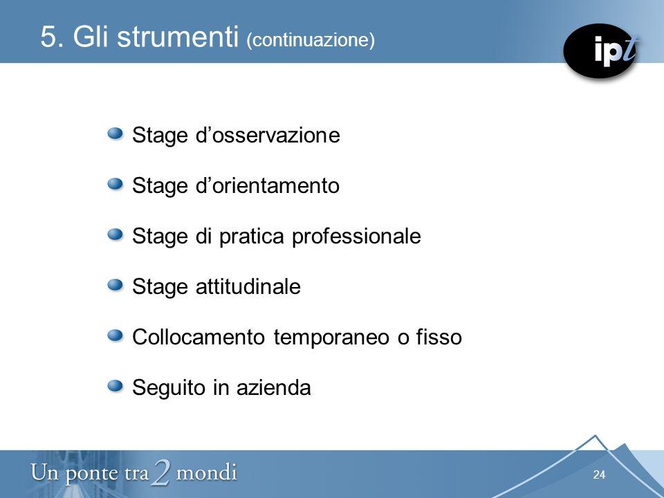 24 5. Gli strumenti (continuazione) Stage dosservazione Stage dorientamento Stage di pratica professionale Stage attitudinale Collocamento temporaneo
