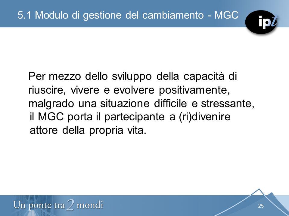 25 5.1 Modulo di gestione del cambiamento - MGC Per mezzo dello sviluppo della capacità di riuscire, vivere e evolvere positivamente, malgrado una sit