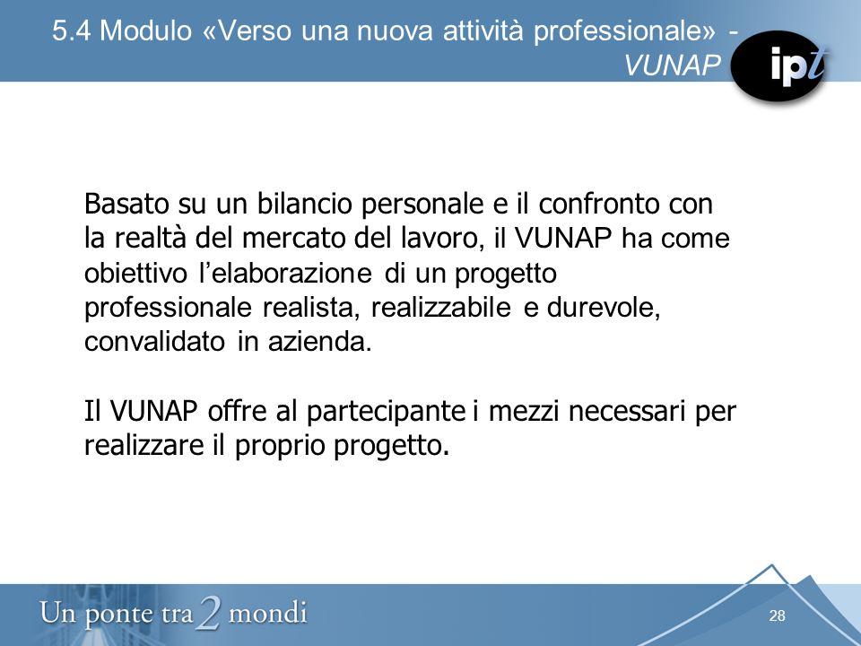 28 5.4 Modulo «Verso una nuova attività professionale» - VUNAP Basato su un bilancio personale e il confronto con la realtà del mercato del lavoro, il