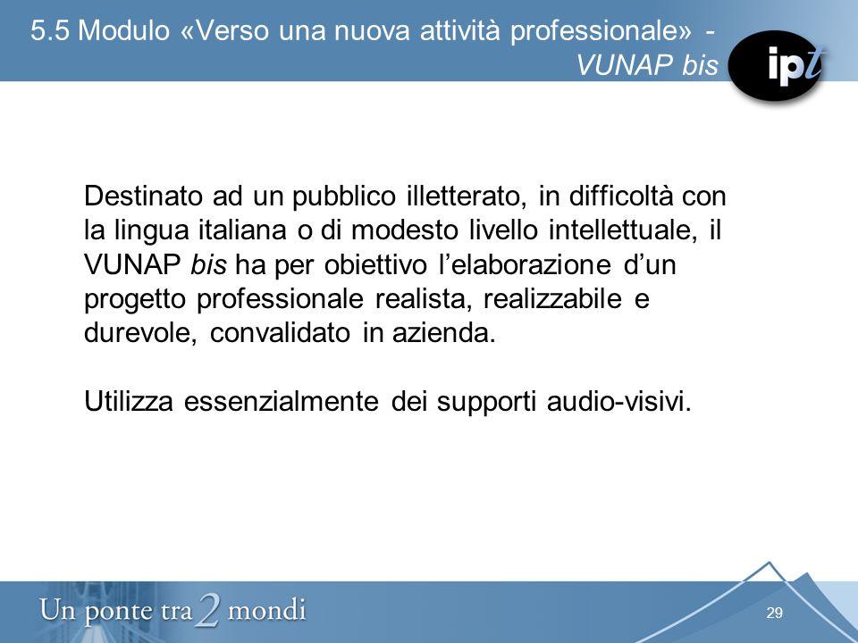 29 5.5 Modulo «Verso una nuova attività professionale» - VUNAP bis Destinato ad un pubblico illetterato, in difficoltà con la lingua italiana o di mod