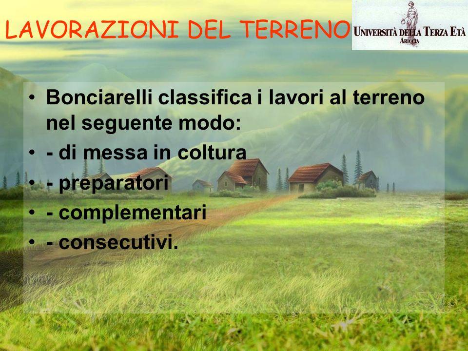 Bonciarelli classifica i lavori al terreno nel seguente modo: - di messa in coltura - preparatori - complementari - consecutivi. LAVORAZIONI DEL TERRE