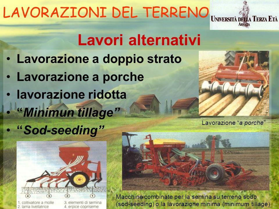 Lavori alternativi Lavorazione a doppio strato Lavorazione a porche lavorazione ridotta Minimun tillage Sod-seeding Lavorazione a porche Macchine comb