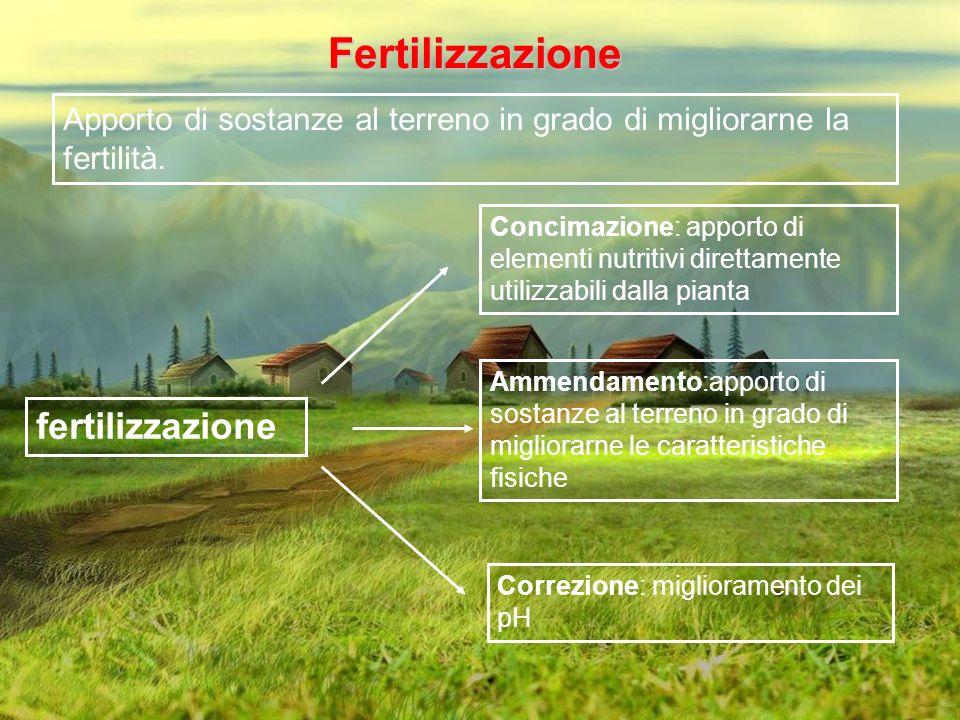 Fertilizzazione Apporto di sostanze al terreno in grado di migliorarne la fertilità. Concimazione: apporto di elementi nutritivi direttamente utilizza