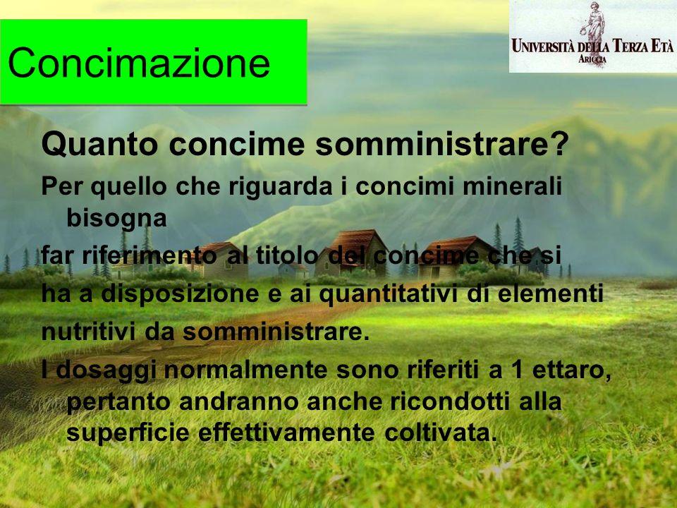 Quanto concime somministrare? Per quello che riguarda i concimi minerali bisogna far riferimento al titolo del concime che si ha a disposizione e ai q