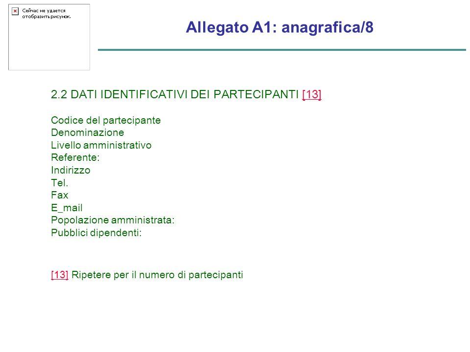Allegato A1: anagrafica/8 2.2 DATI IDENTIFICATIVI DEI PARTECIPANTI [13][13] Codice del partecipante Denominazione Livello amministrativo Referente: Indirizzo Tel.