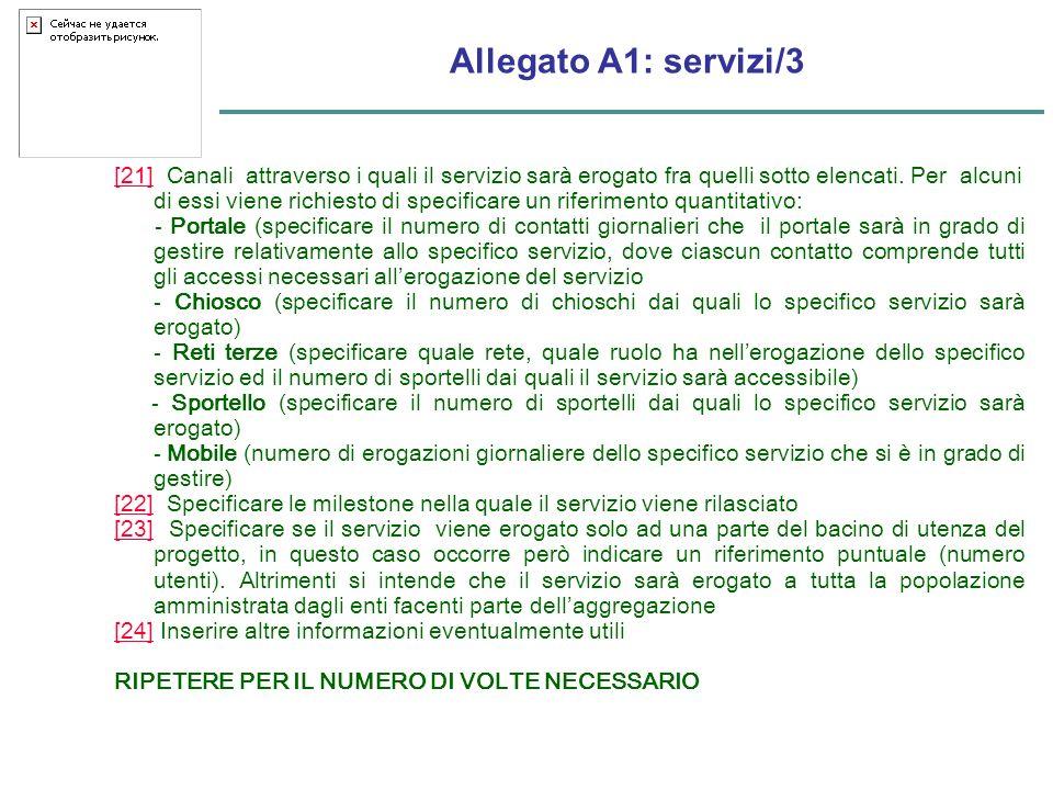Allegato A1: servizi/3 [21][21] Canali attraverso i quali il servizio sarà erogato fra quelli sotto elencati.