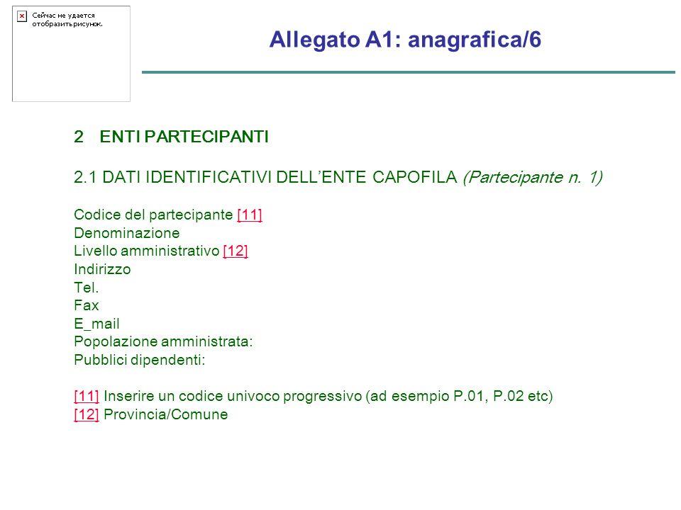 Allegato A1: anagrafica/6 2ENTI PARTECIPANTI 2.1 DATI IDENTIFICATIVI DELLENTE CAPOFILA (Partecipante n.
