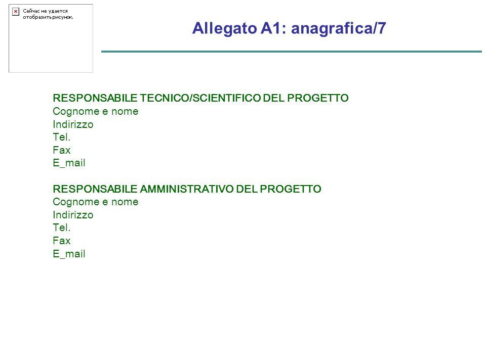 Allegato A1: anagrafica/7 RESPONSABILE TECNICO/SCIENTIFICO DEL PROGETTO Cognome e nome Indirizzo Tel.