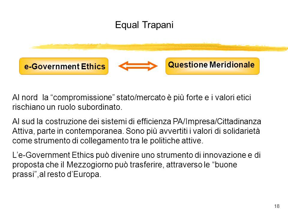 Equal Trapani 18 e-Government Ethics Questione Meridionale Al nord la compromissione stato/mercato è più forte e i valori etici rischiano un ruolo subordinato.