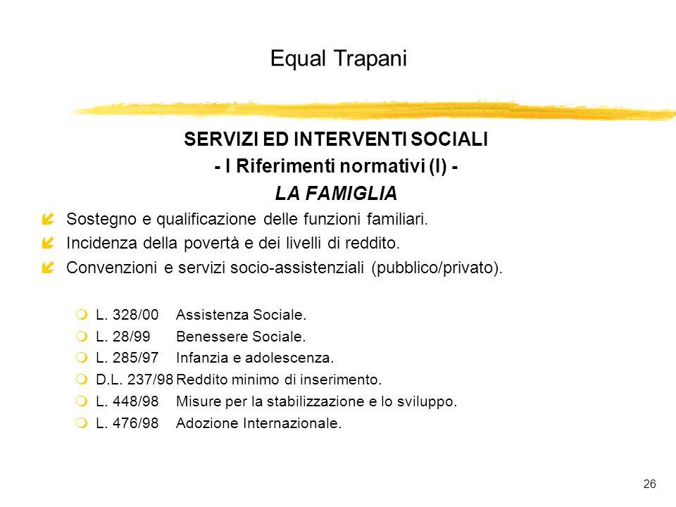 Equal Trapani 26 SERVIZI ED INTERVENTI SOCIALI - I Riferimenti normativi (I) - LA FAMIGLIA íSostegno e qualificazione delle funzioni familiari.