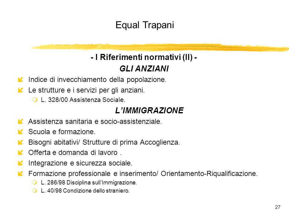 Equal Trapani 27 - I Riferimenti normativi (II) - GLI ANZIANI íIndice di invecchiamento della popolazione.