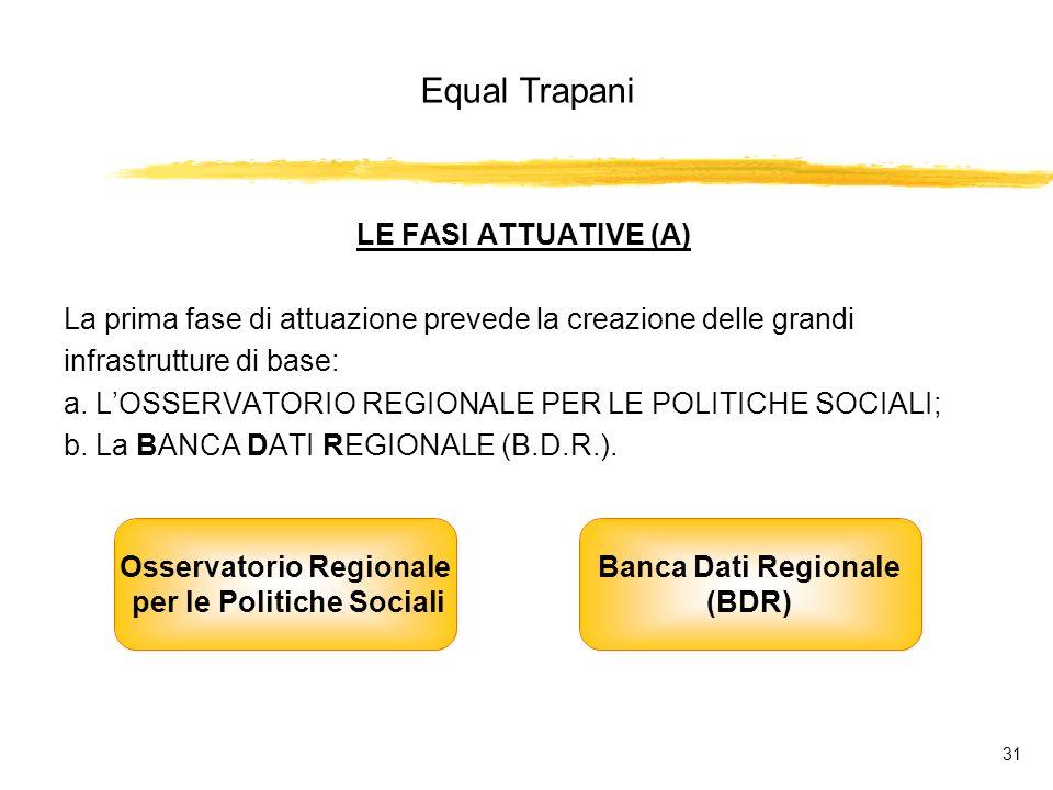 Equal Trapani 31 LE FASI ATTUATIVE (A) La prima fase di attuazione prevede la creazione delle grandi infrastrutture di base: a.