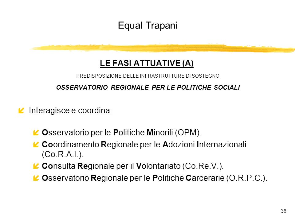 Equal Trapani 36 LE FASI ATTUATIVE (A) PREDISPOSIZIONE DELLE INFRASTRUTTURE DI SOSTEGNO OSSERVATORIO REGIONALE PER LE POLITICHE SOCIALI íInteragisce e coordina: íOsservatorio per le Politiche Minorili (OPM).