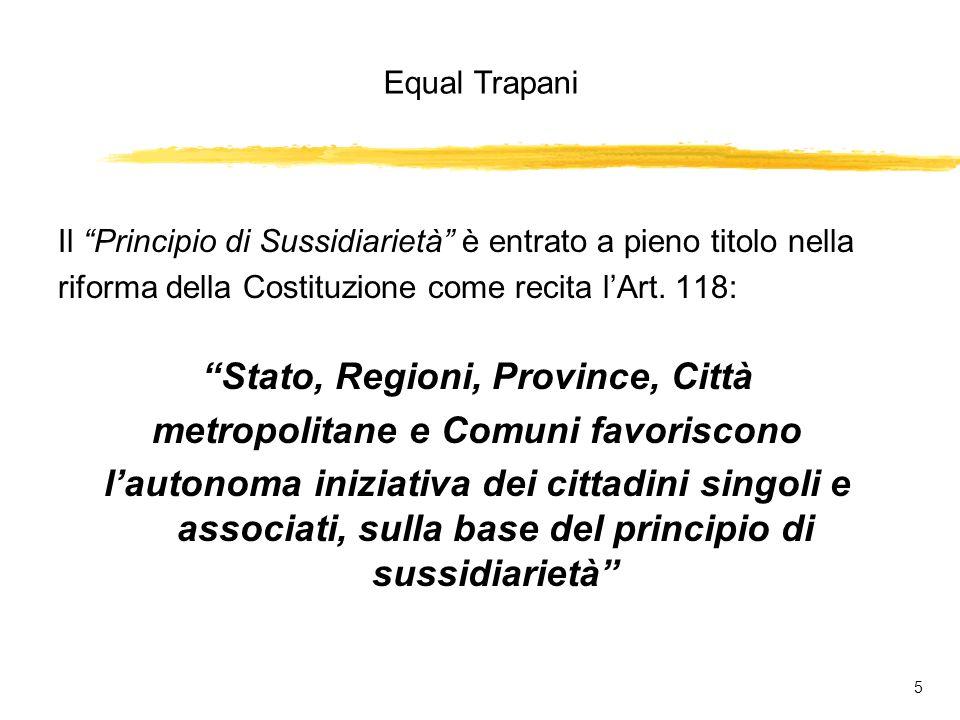 Equal Trapani 5 Il Principio di Sussidiarietà è entrato a pieno titolo nella riforma della Costituzione come recita lArt.