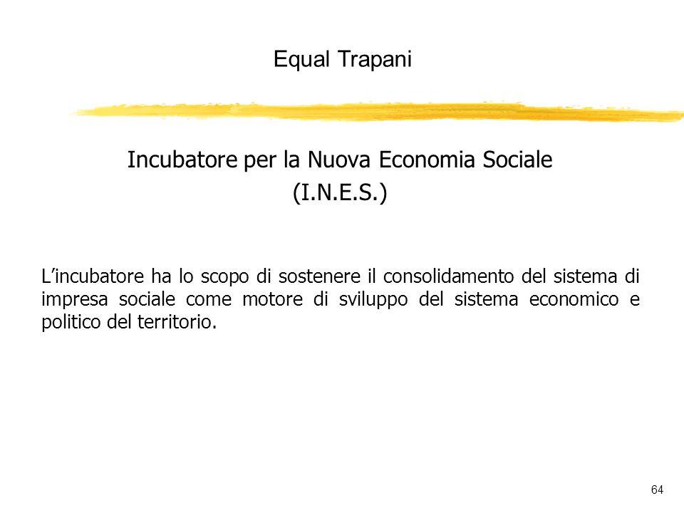 Equal Trapani 64 Incubatore per la Nuova Economia Sociale (I.N.E.S.) Lincubatore ha lo scopo di sostenere il consolidamento del sistema di impresa sociale come motore di sviluppo del sistema economico e politico del territorio.
