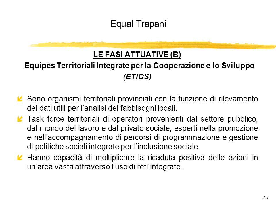Equal Trapani 75 LE FASI ATTUATIVE (B) Equipes Territoriali Integrate per la Cooperazione e lo Sviluppo (ETICS) íSono organismi territoriali provinciali con la funzione di rilevamento dei dati utili per lanalisi dei fabbisogni locali.