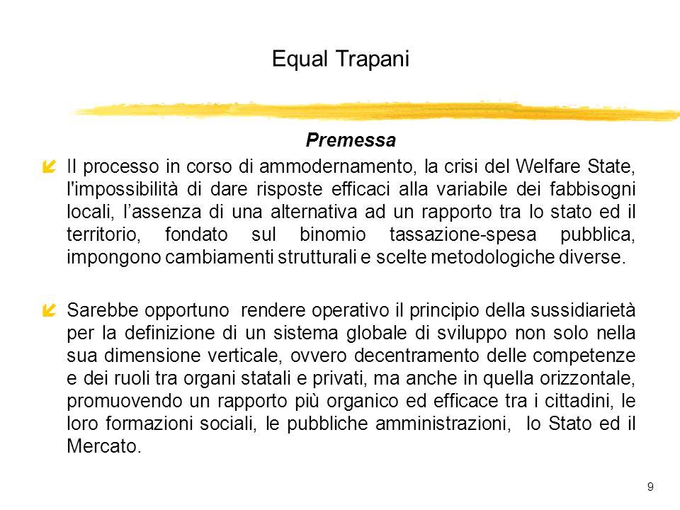 Equal Trapani 80 Rete integrata territoriale Struttura fisica del sistema Banca dati centrale Terminale sportello unico della P.A.