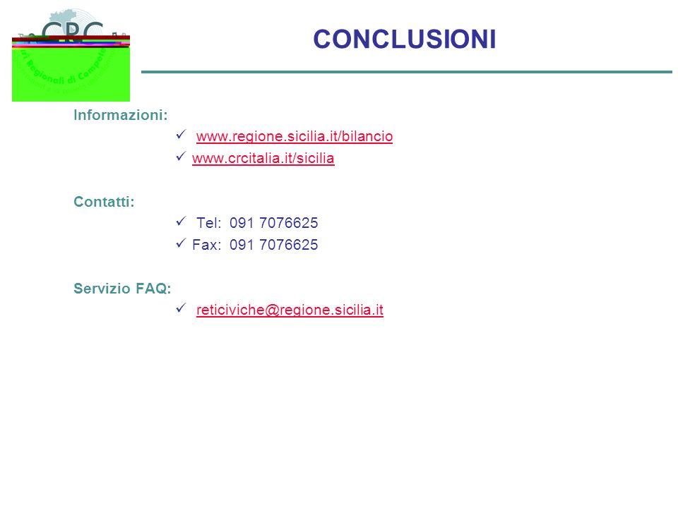 CONCLUSIONI Informazioni: www.regione.sicilia.it/bilancio www.crcitalia.it/sicilia Contatti: Tel: 091 7076625 Fax: 091 7076625 Servizio FAQ: reticivic